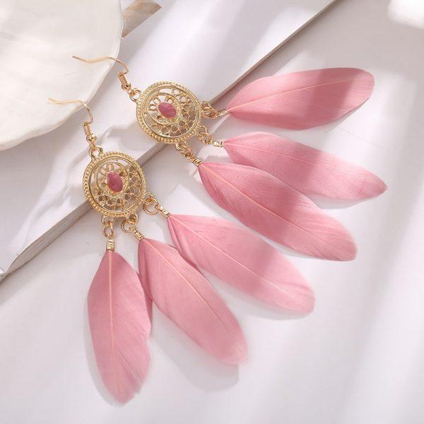 boucle d'oreille bohème chic mariage rose
