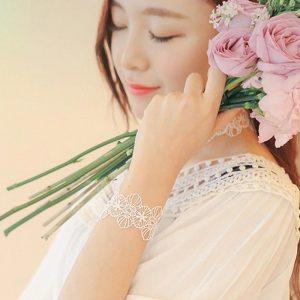 bracelet mariage dentelle blanc