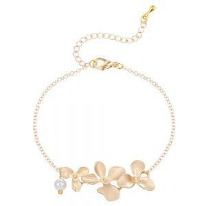 Bracelet fleur mariage orchidée or