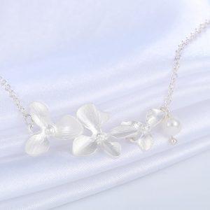 Bracelet fleur mariage orchidée argent