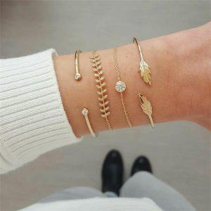 bracelet mariage boheme feuille