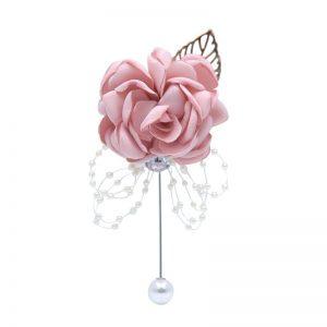 bracelet mariage invites boutonnière rose