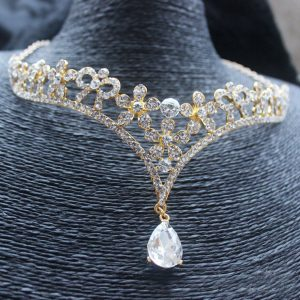 bijoux de tete mariage strass or