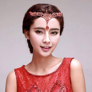 bijoux de tete mariage strass rouge