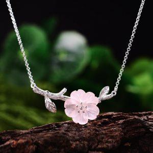 collier mariage champêtre rose