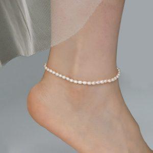 bracelet cheville perle grain riz