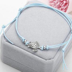 bracelet cheville tortue bleu