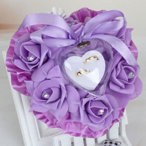 coussin alliance mariage coeur violet