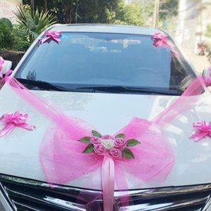 deco de voiture mariage rose