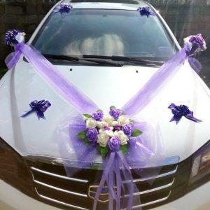 deco de voiture mariage violet